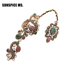 New Turkish Vintage Flower Chain Link Double Ring For Women Antique Bronze Jewelry Resin