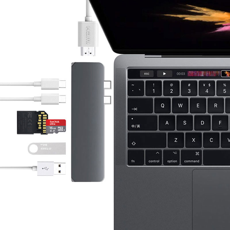 USB-C Dock zu HDMI <font><b>Thunderbolt</b></font> <font><b>3</b></font> Adapter USB Typ C Hub mit PD Power TF <font><b>SD</b></font> Kartenleser USB <font><b>3</b></font>.0 für macBook Pro/Air 2019 USB C image