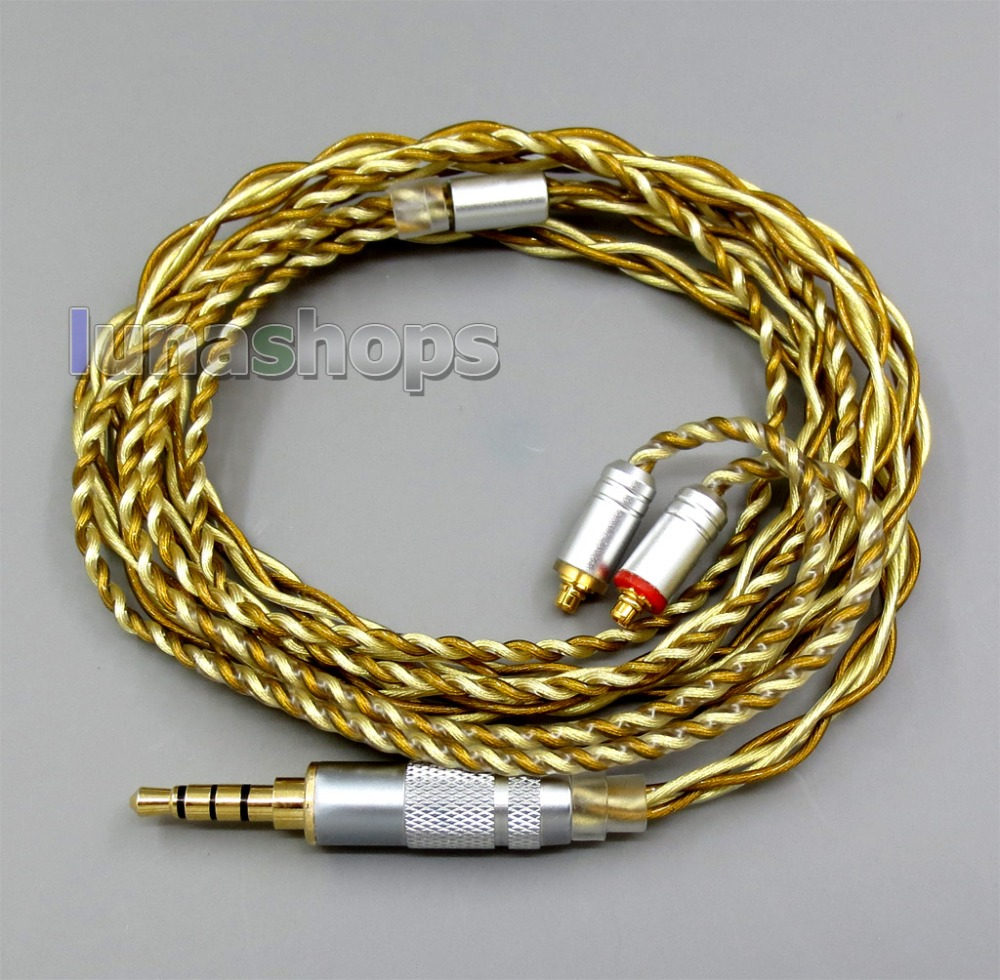 Extremely Soft 7N OCC Pure Silver + Gold Plated Mixed Earphone Cable For Shure se535 se846 se425 se215 MMCX цена