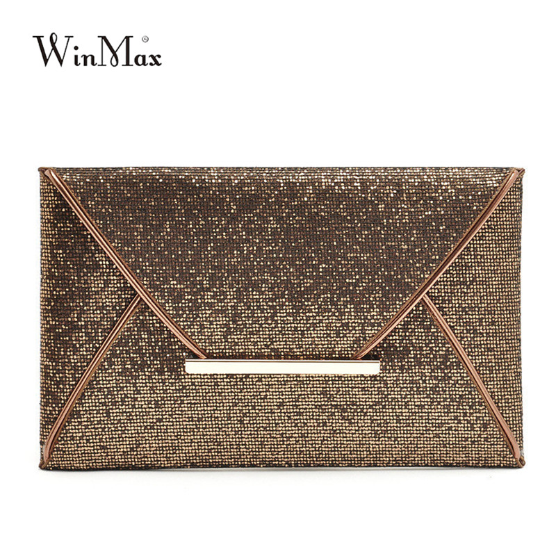 Winmax New Design Fashion Evening Bags Party Clutch Hand Bags Purses Female PU Sequined Hasp Envelop Bags Women Small Handbags цена