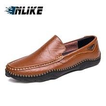 INLIKE Verão Mens Sapatos Casuais Moda Mocassins de Couro Genuíno Italiano Sapatos de Barco Para Homens Respirável Sapatos Doug Calçados Masculinos