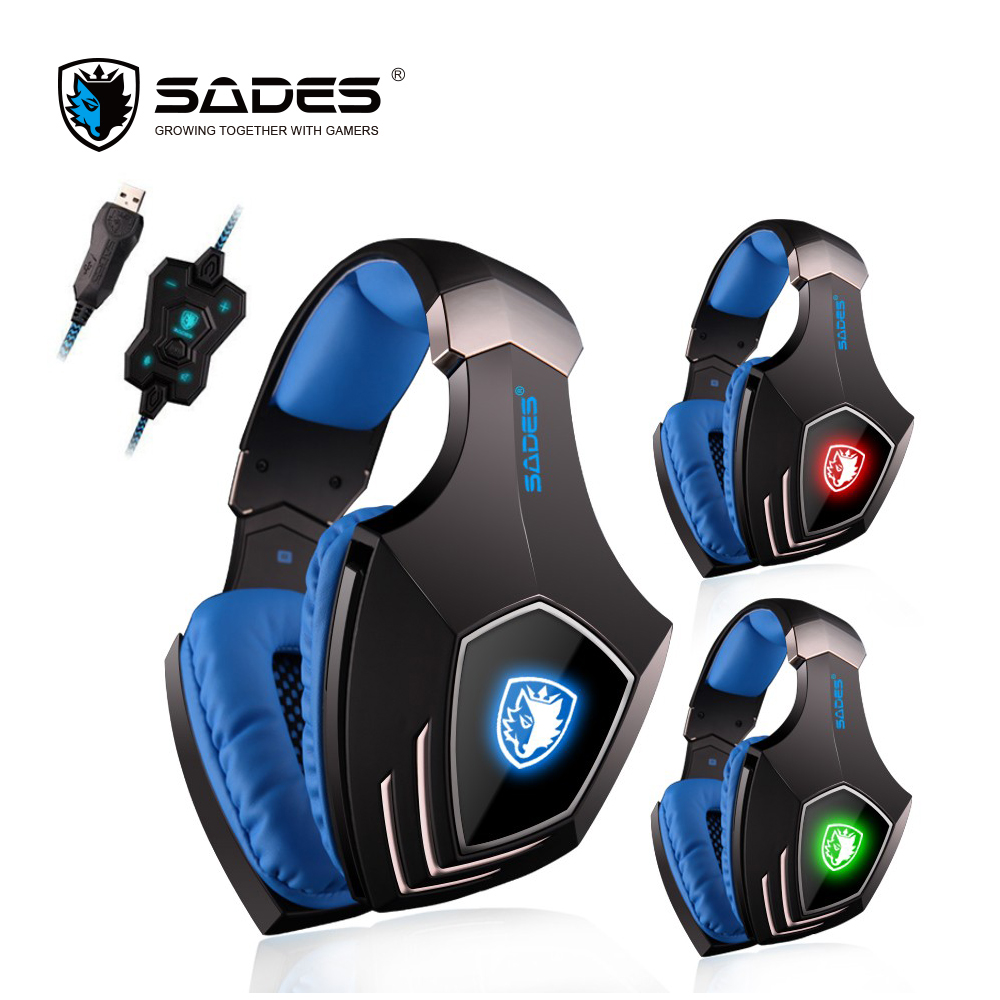 SADES A60 7.1 Surround Sound Headphones Vibration Bass Gaming Headset USB Computer Earphones with Mic and Switch sades a60 7 1 surround sound headphones vibration bass gaming headset usb computer earphones with mic and switch