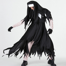 Free shipping 2018 adult New Halloween Costume horror cosplay woman Jesus Christian missionary priest dress Maria nuns uniform halloween jesus costume drama male missionary maria white priest christian priest pope men cosplay clothing