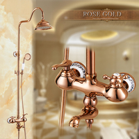 Uythner Luxury Rose Golden Finish Dual Handle Switch 8 Rain Bath and Shower Faucet Set Mixer Tap Wall Mounted