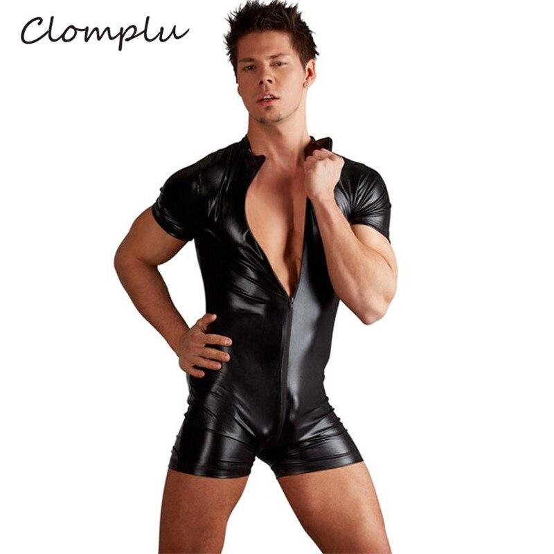 Clomplu Männer Voller Body Shaper Schwarz Leder Abnehmen Körper Former Plus Größe Kurzarm Zipper Bauch Bauch Control Kleidung