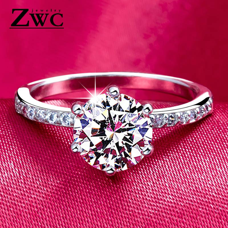 ZWC AAA Zircon Jewelry Ring Gift Claw Wedding-Rings Crystals Classic Female Women Engagement