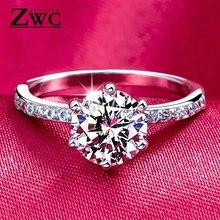 ZWC, модные классические обручальные кольца с шестью когтями, AAA циркон, ювелирные изделия для женщин, обручальное кольцо с кристаллами, подарок