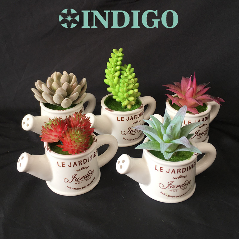 INDIGO-1 SET Succulent Plant Kettle Shape Bonsai Artificial Flower Office Table Decoration Green Plant Background Free Shipping