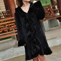 (TopFurMall) Ladies' Genuine Natural Knitted Mink Fur Coat Overcoat with Ruffle Collar Winter Women Fur Outerwear Coats Clothing