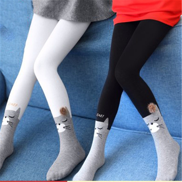 Cute Kids Girls Stockings Pantyhose Tights Kids Female Stockings Winter Soft Print Children Tights Cotton Baby Girls 70D0644
