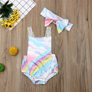 Newborn Baby Girls Clothes Summer Rainbow Bodysuits Bow Headband Lace Belt Backless Bodysuits Baby Kid Jumpsuit Outfit 0-24M New 1