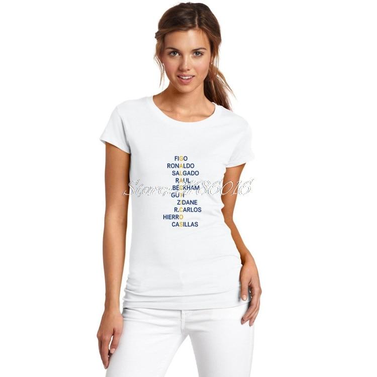 Women Galacticos Figo Zidane Ronaldo Raul retro crossword reals beckham guti carlos casillas madrid T-Shirt Lady Girl W17060607