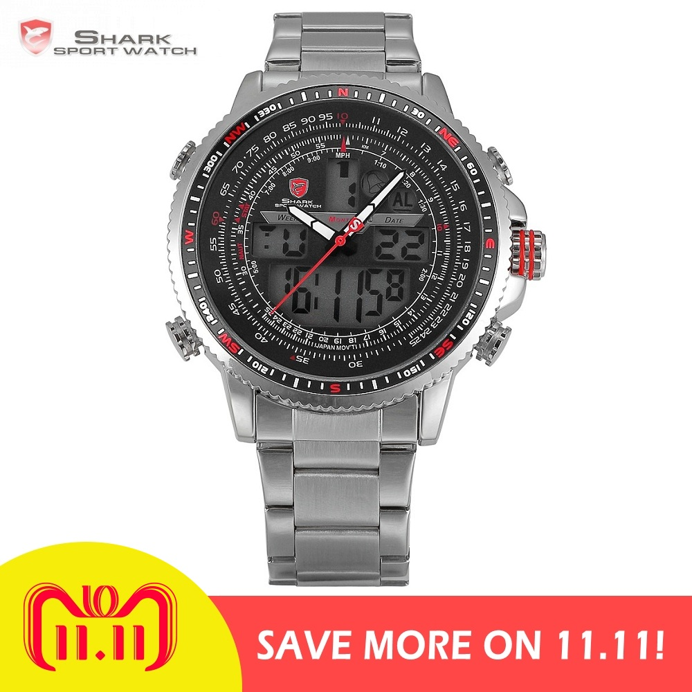 Luxury Winghead SHARK Sport Watch Men Black Dual Time Date Alarm Steel Band  Relogio Masculino LCD fcd4dd9ddd1d9