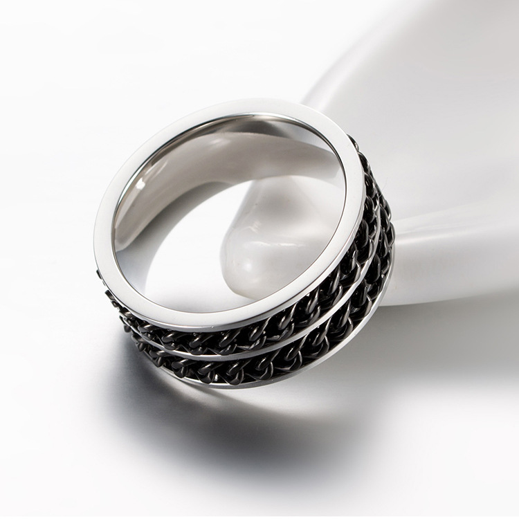Punctual Modyle Fashion Mens Ring The Punk Rock Accessories Stainless Steel Black Chain Spinner Rings For Men 3 Color Rings