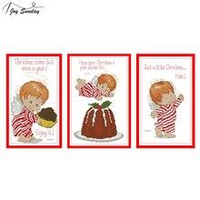 Joy Sunday Counted Cross Stitch Little Angels Sets 14ct 11ct Aida Canvas DIY Printed Embroidery Kit Needlework DMC