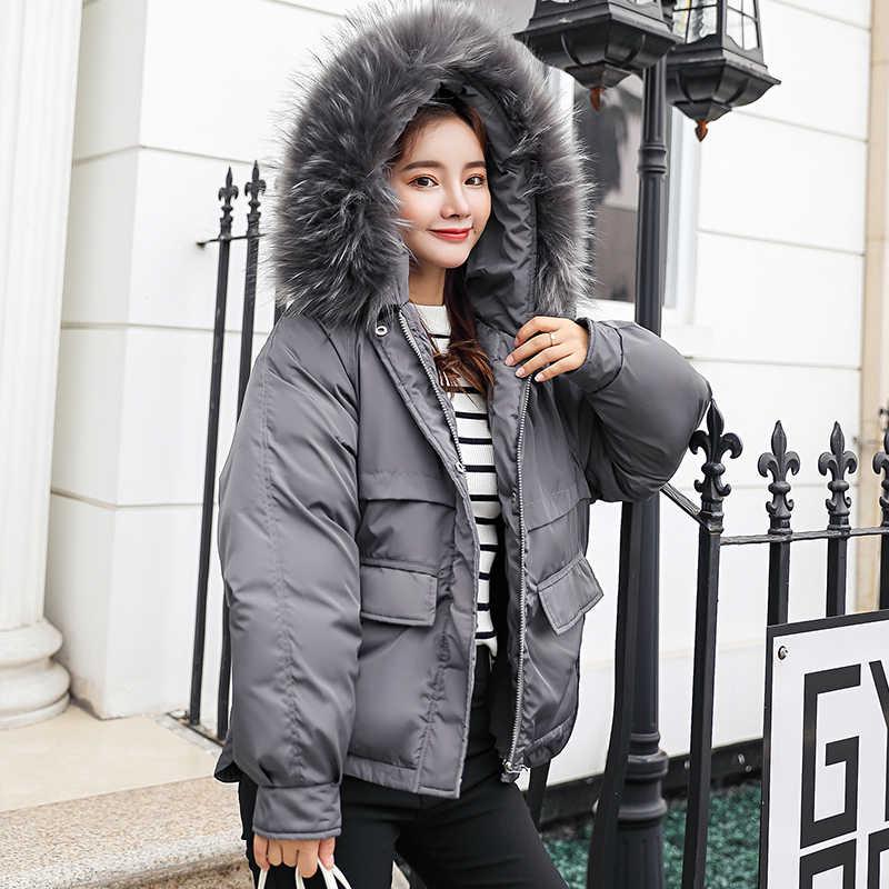 2018 الفراء طوق النساء الشتاء معطف مقنع سميكة الإناث كبير حجم قميص سترة الفتيات الدافئة سترة قصيرة ضئيلة jaqueta feminino