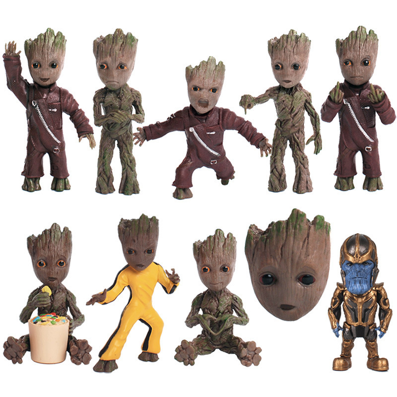 New Baby Tree Man Grootted Action Figure Doll Toys Mini Guardians Of The Galaxy Treeman Baby Figure Car Keychain Model Statue