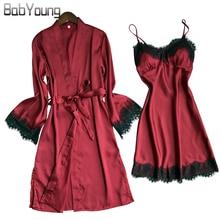 Купить с кэшбэком BabYoung Summer Women Silk Robe Pad Fillet Pajamas Sexy Long Sleeve Robes Camisole Night Skirt Homewear With Lace