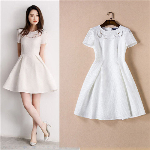 New Trend High Quality Womens Summer Dresses 2016 African Dress Designs Fashions All White Short