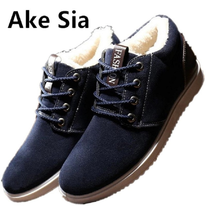 Ake Sia 2017 Winter keep warm Cotton Fabric Fabric fashion fashion shoes men lace shoes thick bottom men casual board shoes