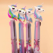 2 Pcs/lot Cute Unicorn Cartoon 3 Colors Ballpoint Pen School Office Supply Gift Stationery Papelaria Escolar 1 pcs cartoon rainbow unicorn 6 colors silicone press ballpoint pens school office supply gift stationery