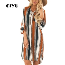 GIYU Summer Women Shirt Dress Casual Striped Printing Dresses Turn-down Collar Vestido Long Sleeve Basic robe femme giyu women shirt dress with sash turn down collar dresses pocket vestido casual office lady empire robe femme