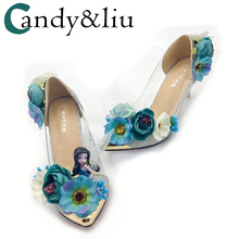 flower wedding shoes in the bride with fairy pointed rhinestone pearl wedding banquet photo show nightclub women's singles
