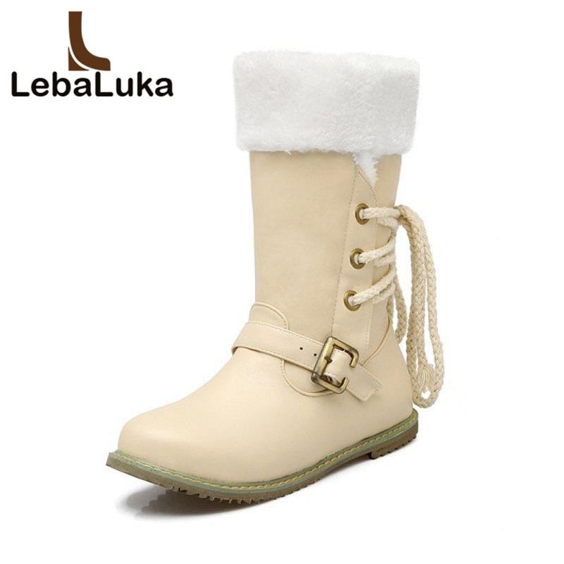 Tuyoki Footwear-Shoes Half-Short-Boots Fashion Women Calf Lace-Up Mid Buckle Warm-Fur