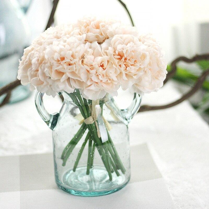 Flores artificiales Flores De Seda Falso Hoja Peony Hydrangea Simulación Planta