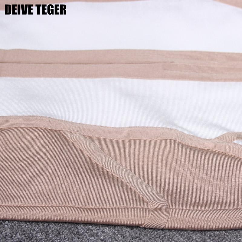 Outre Hl1449 L'épaule Et V Sexy Femmes Robes Kaki De Soirée Club cou Bandage Blanc Belle Robe Deive Teger Lady 1UWFqwqE
