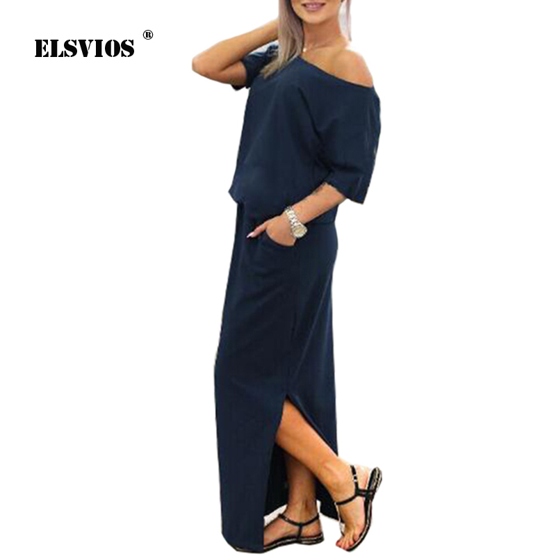 ELSVIOS Sexy Slash neck Side Split Loose Dress Women Summer Long Maxi Dress Short Sleeve Evening Party Dress Pocket Vestidos