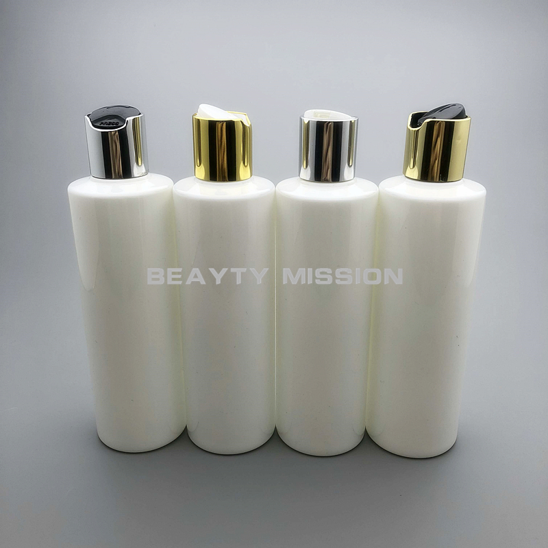 BEAUTY MISSION 250ml 24 pcs/lot white empty plastic shampoo PET bottle with gold/silver disc top cap, cream/essential oil bottle