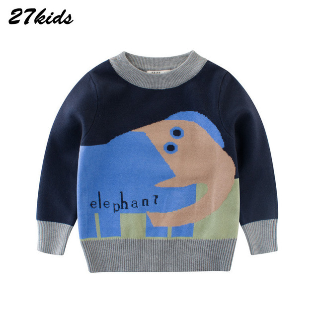 227cd6b35 27kids Elephant Knitted Sweater for Boy Sweater 2 9T Autumn Spring ...