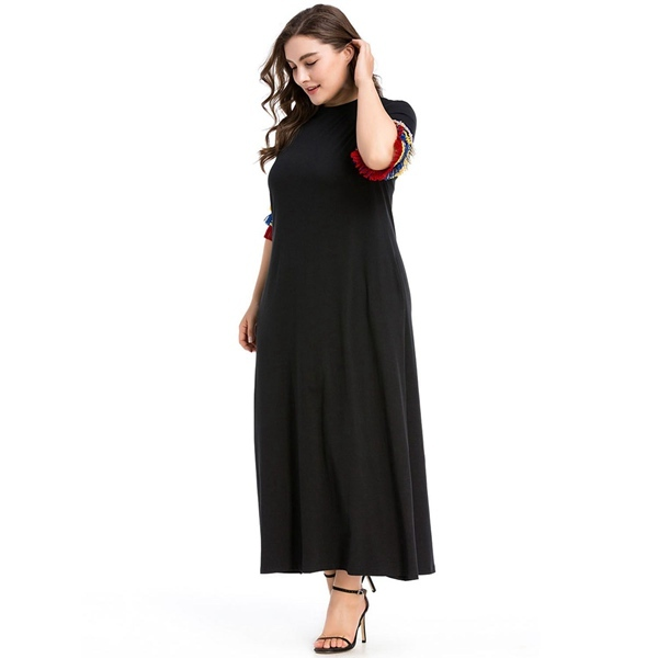 Urban casual European-style style dress Muslim Muslim dress large size women's dress Free Shipping