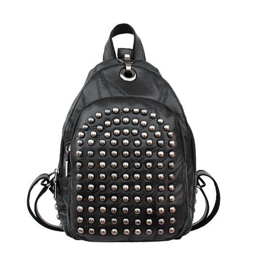 все цены на Popular leather bag all-match Mini shoulder Backpack leather stitching river solid Backpack women bag