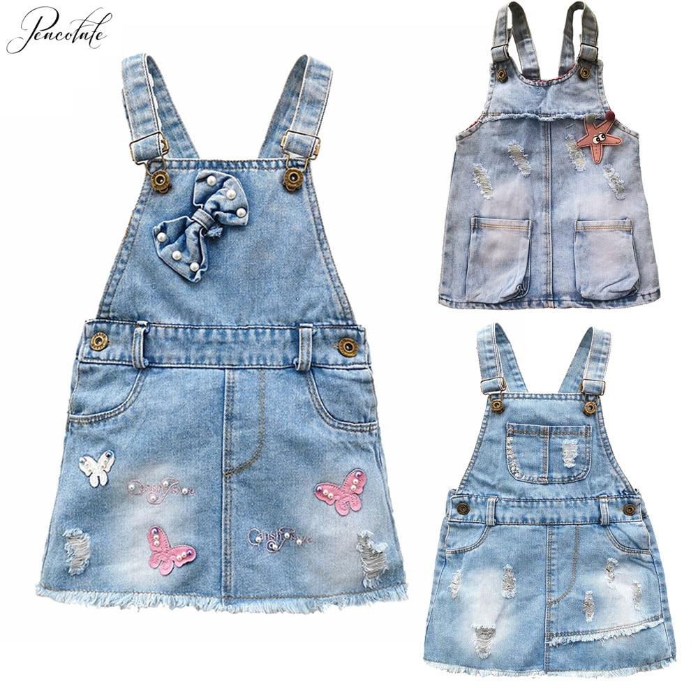 1 5Years Little Girls Children Kids Baby Girls Rompers Jumpsuit Denim Strap  Skirt|Skirts| - AliExpress