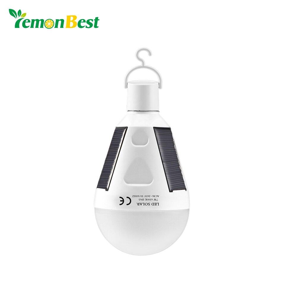 Lemonbest Rechargeable Solar LED Bulb E27 Hanging LED Solar Lamp 12W 7W 85-265V