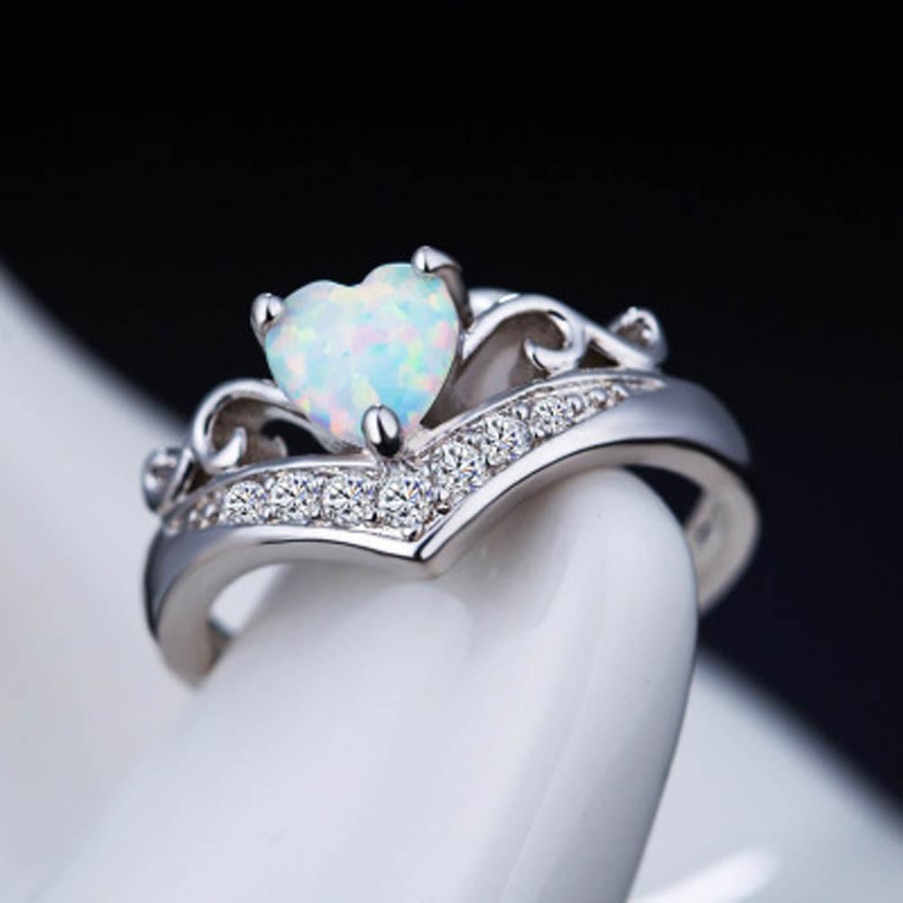 Элегантный Сердце покроя RAINBOW опал кольцо модные белые CZ свадебные украшения Обручение обещание Кольца