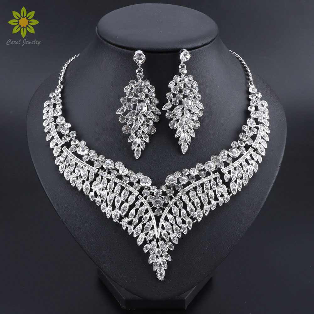 Crystal Wedding Jewelry Sets For Women Silver Plated Necklace Earrings Set Engagement African Beads Jewelry Sets