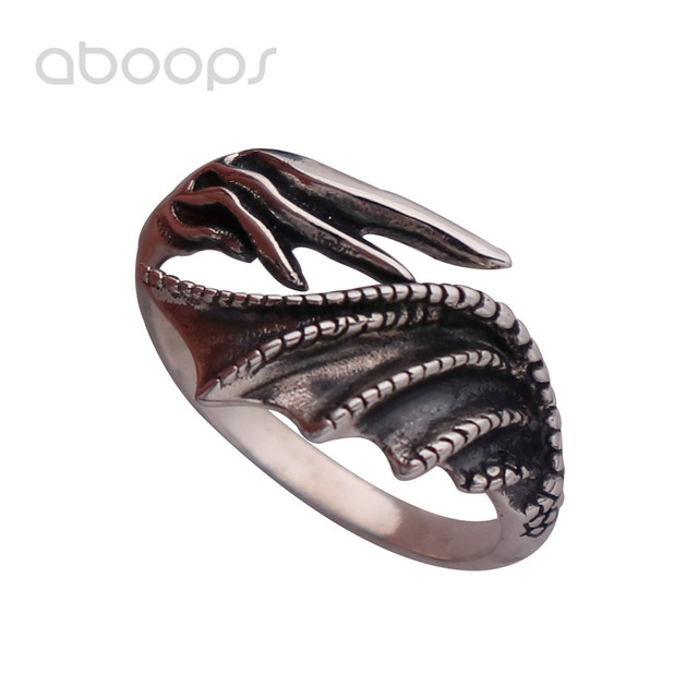 Mens Vintage Black 925 Sterling Silver Demon Dragon Wing Ring Adjustable Free Shipping