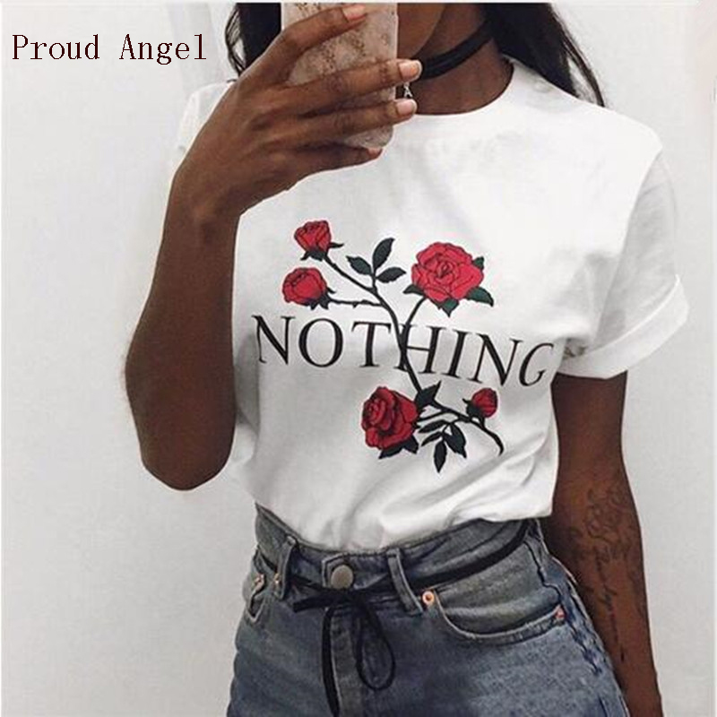 Nothing Letter Print T Shirt Rose Harajuku T-Shirt Women 2018 Summer Casual Short Sleeve Women T Shirt Plus Size Punk Shirts