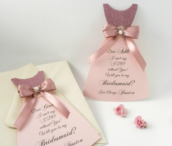 Asking For Gifts On Wedding Invitations: Custom Wedding Asking Bridesmaid Dress Cards Matron Of
