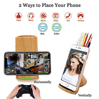 Wooden Mobile Phone Charger Holder For iPhone X/8 Plus Desktop Qi Wireless Charger Stand Mount For Samsung S8/S8 Plus+Pen Holder