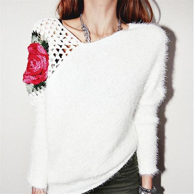 DoreenBow New Fashion Autumn Winter Women White Sweater Knitted ...