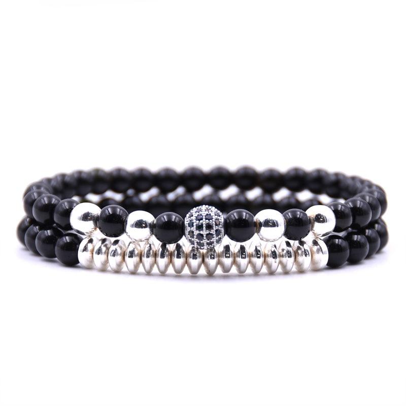 KANGKANG 2PCS Set 6mm popular Bright blackl stone Beads Bracelet For Women Men 4 color Handmade Hematite Bracelets Charm jewelry in Strand Bracelets from Jewelry Accessories