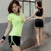 Green Color Shirt Fitness Solid Color Black for Women Sportswear Shirt Women Pants 3 piece Yoga Set Women Activity Set