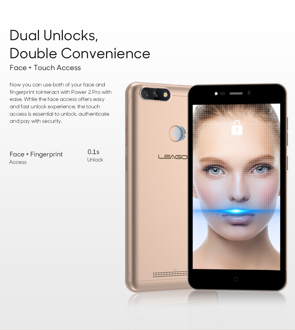LEAGOO POWER 2 PRO 4000mAh Face ID Fingerprint Smartphone 2GB+16GB Dual Camera Android 8.1 Quad Core 5.2' HD 4G Mobile Phone (9)