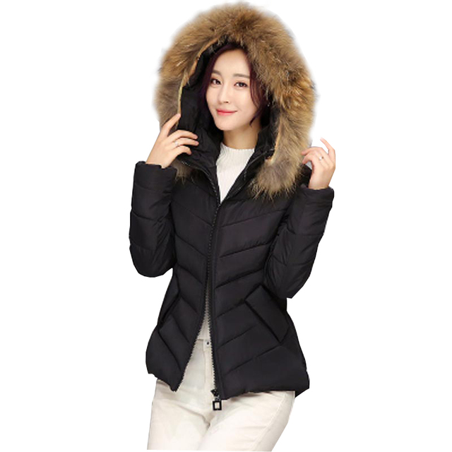 2016 winter new down jacket women slim cotton-padded coat with faux fur collar hooded thicken short fashion wadded jacket kp0835