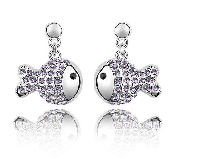 Free Shipping! 2012 Fashion Rhinestone Drop Fish Earrings, Fashion Design Wholesale Economical Earrings, Hot Sale Drop Earrings