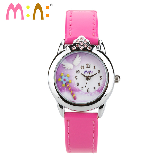 Original MINI Brand Delicated Clay Handmade Watches Princess Magic Wand Quartz Wrist watch Children Real Leather Relojes NW7051